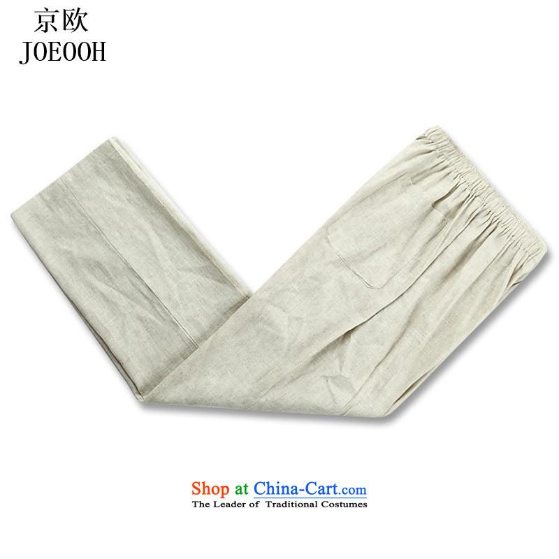 Beijing Summer Europe New Tang dynasty hemp men short-sleeved T-shirt and older persons in the Han-China wind men's short-sleeve kit beige kit聽XL, Putin (JOE OOH) , , , shopping on the Internet