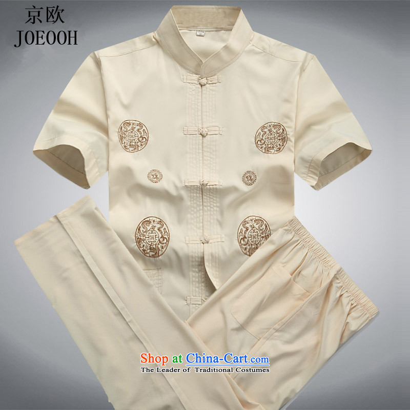 Beijing New OSCE kit in Tang dynasty China wind older short-sleeved light summer, men summer beige kit燤
