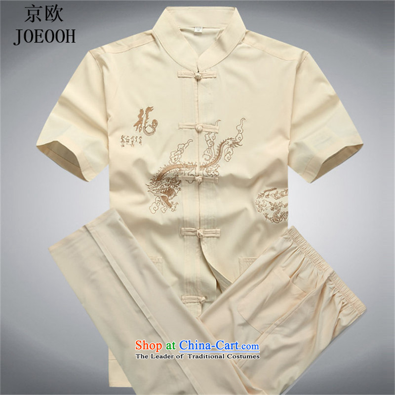 Beijing Europe 2015 Tang dynasty men short-sleeve kit for older persons on Chinese clothing Big Daddy code elderly grandparents spring and summer load blanded Kit燣