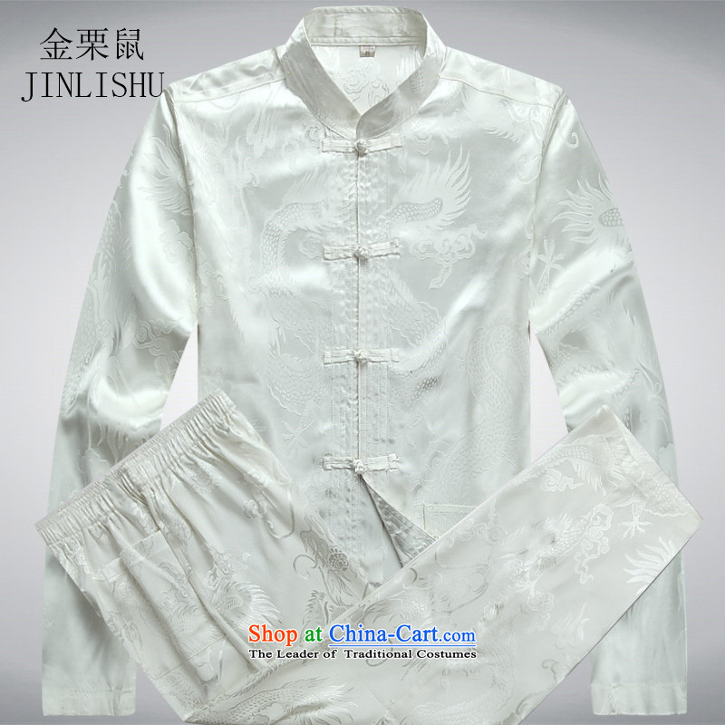 Kanaguri mouse in older men Tang dynasty long-sleeved Kit Spring Summer exercise clothing teahouse workwear men White Kit燲L