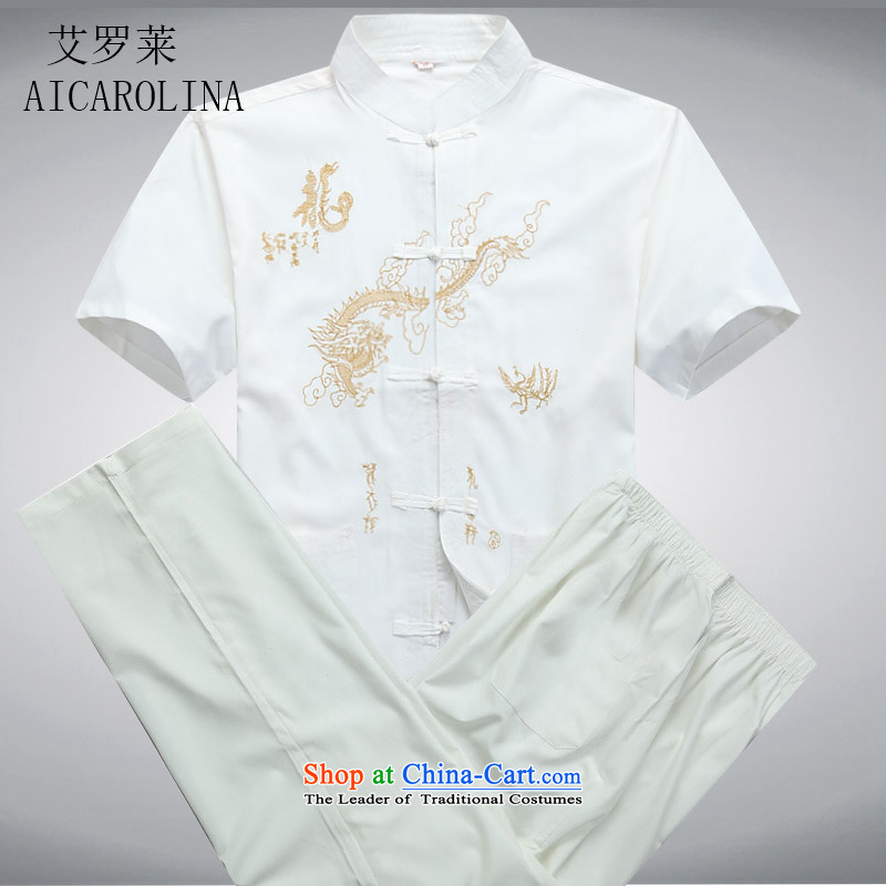 Hiv Rollet short-sleeved Summer 2015 Mr Ronald Tang dynasty in older collar Chinese men and Tang Dynasty Package White Kit聽XL