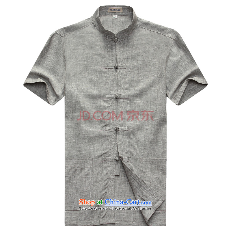The Secretary for Health Doi 2015 New Pont Sond茅, older men, short-sleeved T-shirt summer load father linen breathable China wind leisure Tang dynasty gray聽170