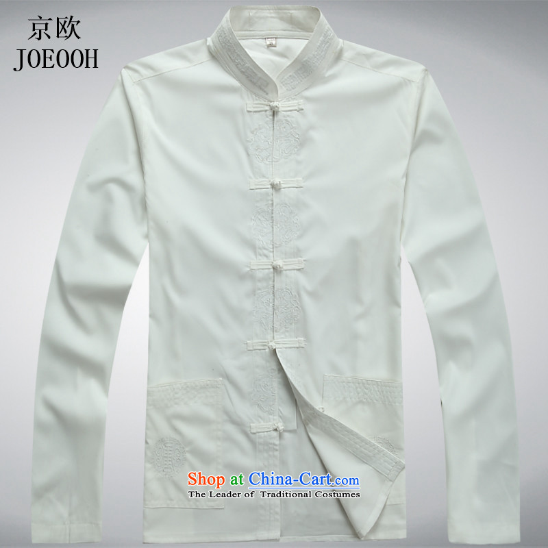 Beijing spring and summer, the OSCE in Tang Dynasty older men cotton Tang Kit large long-sleeved casual relaxd father replacing white shirt M