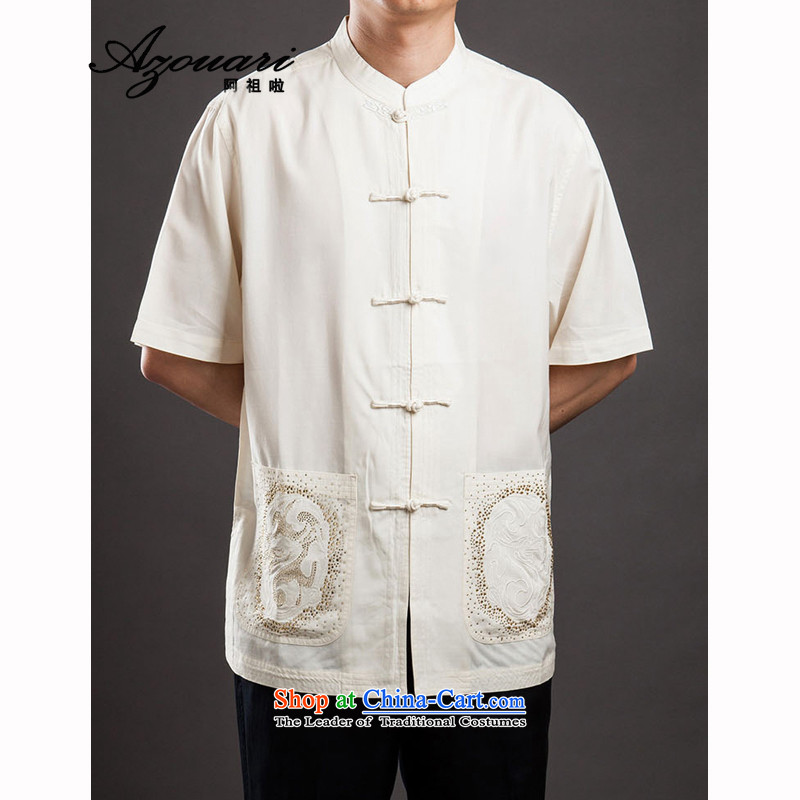 Azzu _azouari_ defense men short-sleeved Tang Dynasty Chinese Disc detained Men's Mock-Neck beige 44