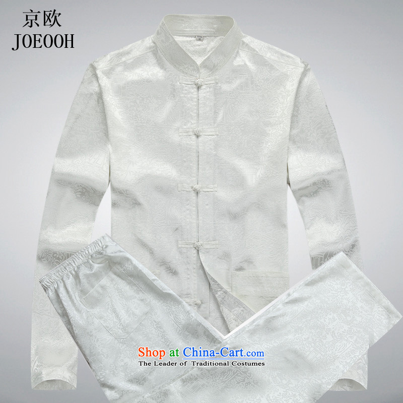 The elderly in the OSCE kyung man long-sleeved Tang Dynasty Large spring and summer package national Han-T-shirt grandfather Kit White聽XXL Kit