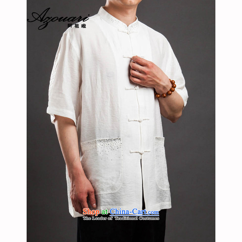 Azzu _azouari_ defense men short-sleeved Tang Dynasty Chinese summer cool comfort white聽44
