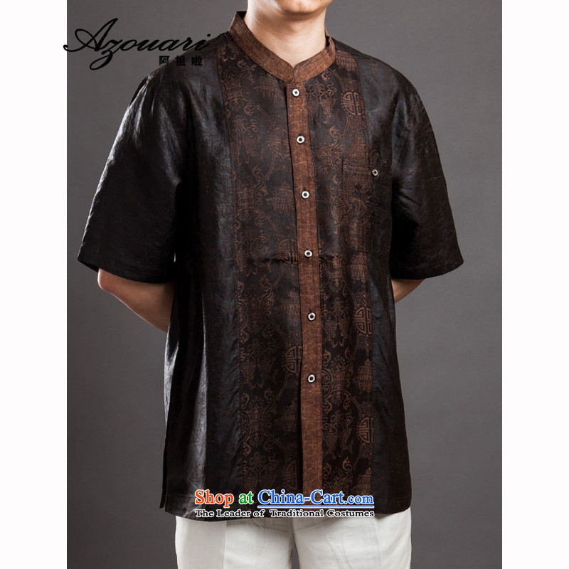 Azzu _azouari_ defense men Tang dynasty short-sleeved cloud of incense yarn Chinese Men's Mock-Neck gentleman retro coffee聽46