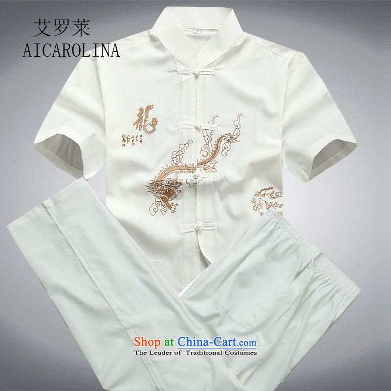 Rollet summer of HIV Tang dynasty in older men Tang Kit casual short-sleeved large relaxd father boxed packaged燲XXL White