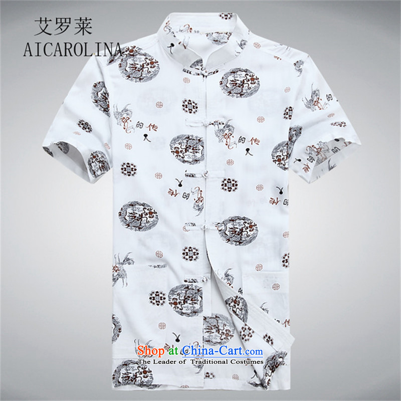Hiv Rollet China wind summer T-shirts in Tang older large leisure shirt middle-aged men Tang dynasty short-sleeved white S
