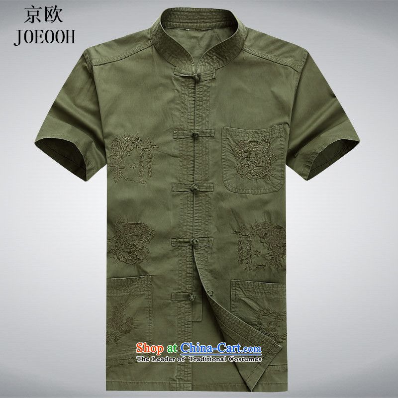 In 2015, OSCE elderly Kyung Tang dynasty male short-sleeved T-shirt Chinese national dress to intensify the summer flowers Taegeuk military embroidery green燲L