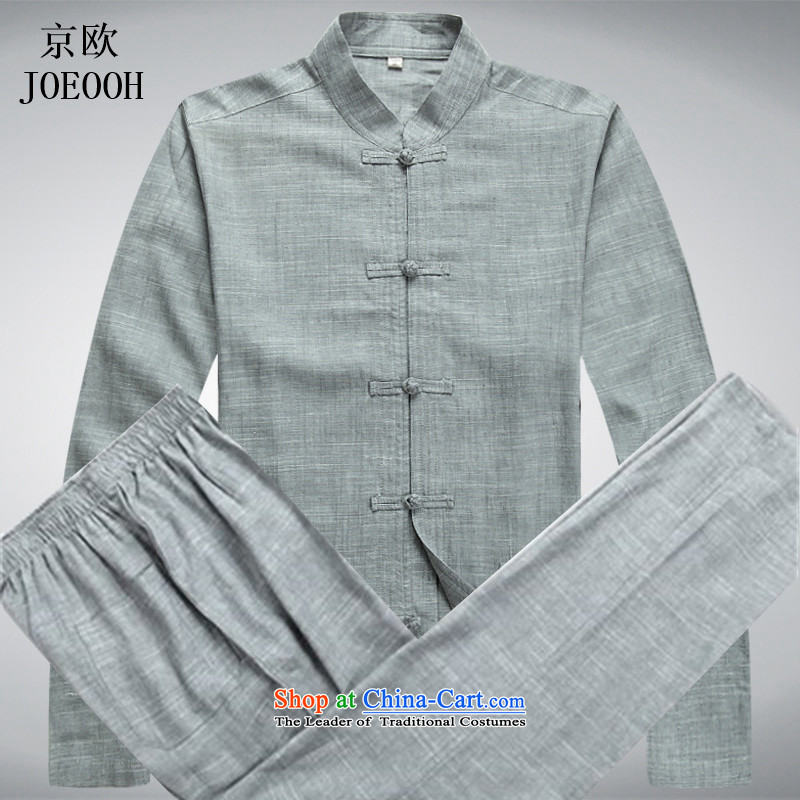 Beijing spring and summer, the OSCE in Tang Dynasty older men linen Tang Kit large long-sleeved casual relaxd father replacing Tsing gray suit燲L