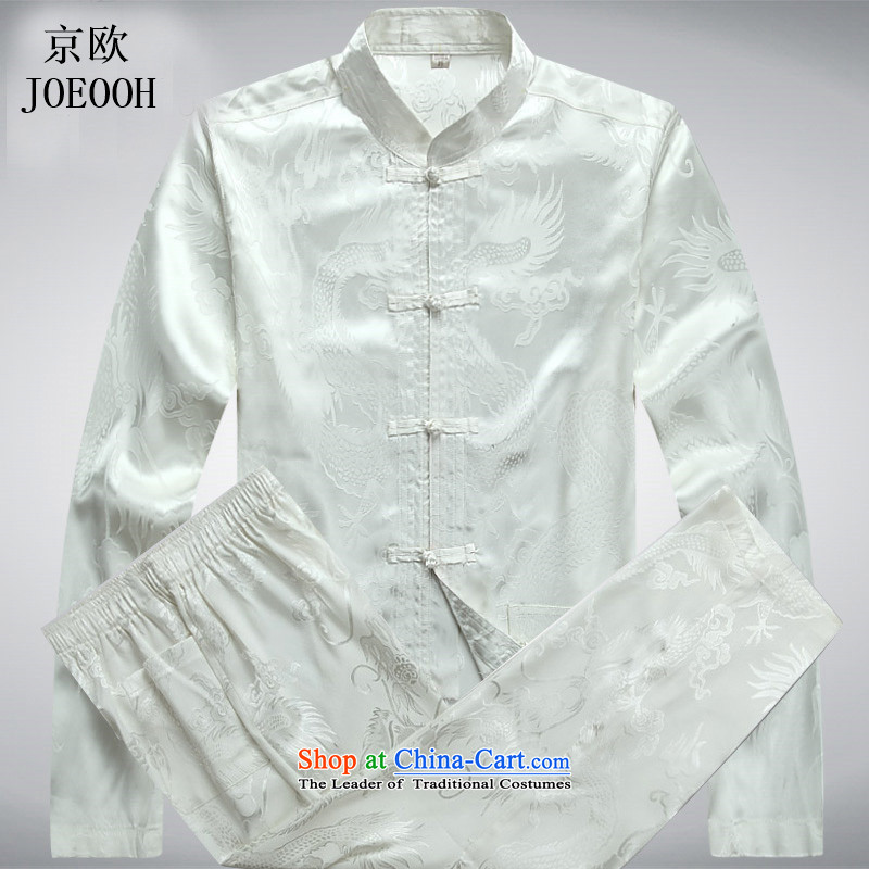 Beijing Europe of older persons in the Tang dynasty and long-sleeved kit spring and fall of kung fu men Chinese shirt tray clip Tang Dynasty Package White Kit聽XL