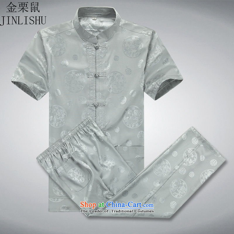 Kanaguri mouse men in the summer of Tang Dynasty elderly men summer short-sleeve kit Chinese national costumes father large load gray suit燲XL