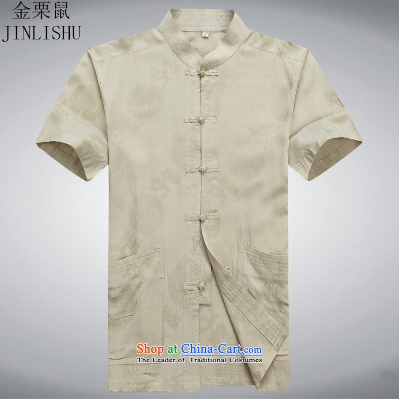 Kanaguri mouse summer Tang Dynasty Men's Mock-Neck Shirt that short-sleeved older Men's Shirt summer leisure gold聽S