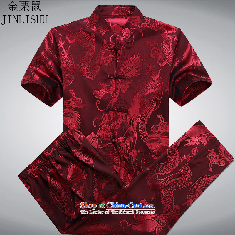 Kanaguri mouse new summer_, Tang Dynasty Chinese men older men short-sleeve kit for larger red kit聽XXL