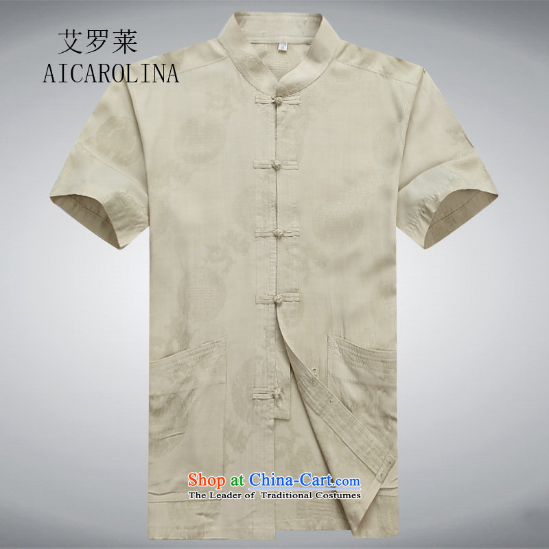 Hiv Rollet spring and summer men Tang dynasty male short-sleeved T-shirt Chinese ROM China wind shirt clip summer gold?L