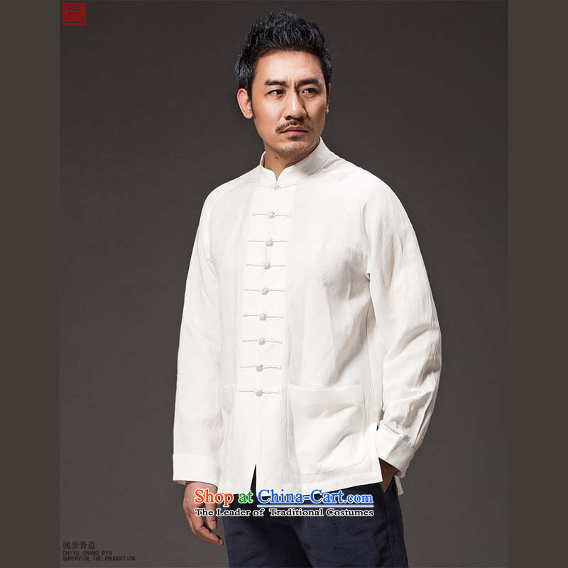 Renowned Tang replacing men China wind loading long-sleeved ethnic Autumn Chinese collar new Chinese tunic tray clip Han-men and Kung Fu shirt White聽4XL