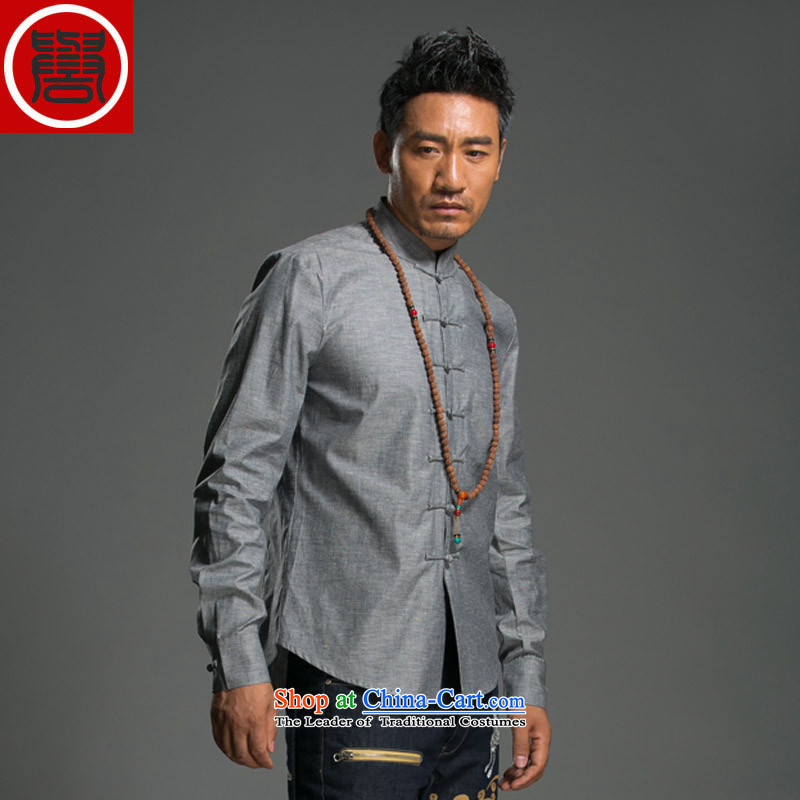 Renowned 2015 China wind spring and autumn men Chinese cotton linen Sau San disk tie china Mock-Neck Shirt linen pure color improved Tang dynasty gray jumbo XL