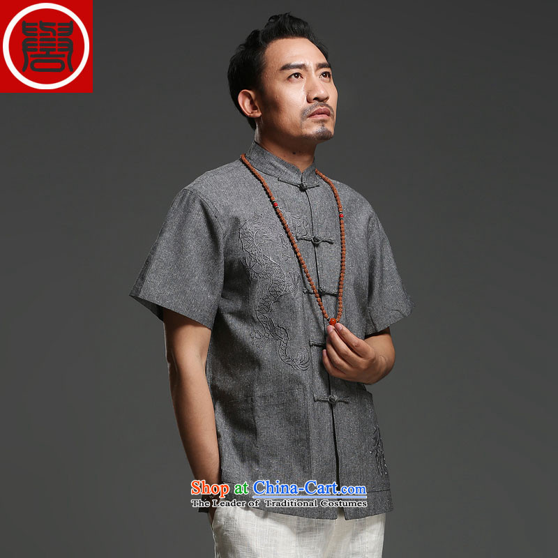 Renowned Tang replacing men short-sleeved cotton linen 2015 new dragon design Tang dynasty summer breathable T-shirt, dark gray large (175)national costumes