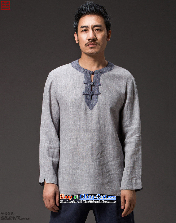 Renowned China wind men short-sleeved T-shirt with round collar tray clip cotton linen collar leisure retro Men's Shirt Han-suk (3XL) Light Gray Photo, prices, brand platters! The elections are supplied in the national character of distribution, so action, buy now enjoy more preferential! As soon as possible.