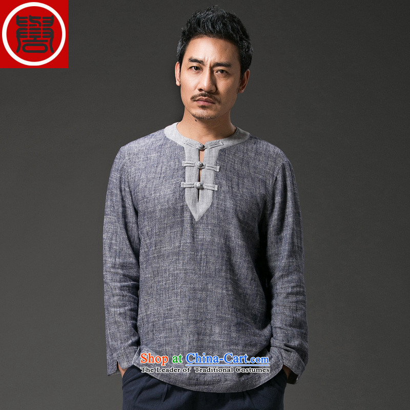 Renowned China wind men short-sleeved T-shirt with round collar tray clip cotton linen collar leisure retro Men's Shirt Han-suk (3XL), Light Gray (CHIYU renowned shopping on the Internet has been pressed.)