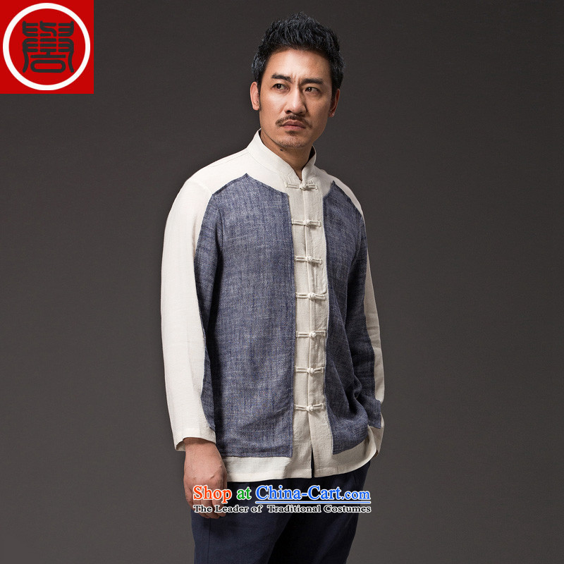 Renowned China wind men Han-long-sleeved shirt Sau San Chinese linen Tang dynasty men detained Men's Shirt disk autumn shirt kung fu shirt dark gray large XL