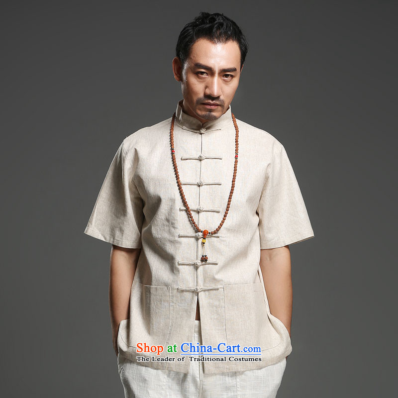 Renowned China wind men cotton linen short-sleeved Tang dynasty improved Tang Dynasty Chinese men of pure colors of ethnic summer Blouses _170_In m Yellow