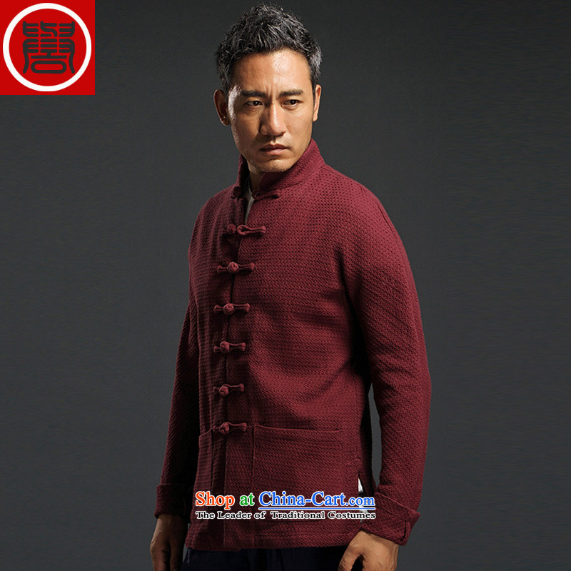 2015 Autumn renowned Tang dynasty China wind of men's woven shirts were long-sleeved jacket loose collar XXXL Chinese red