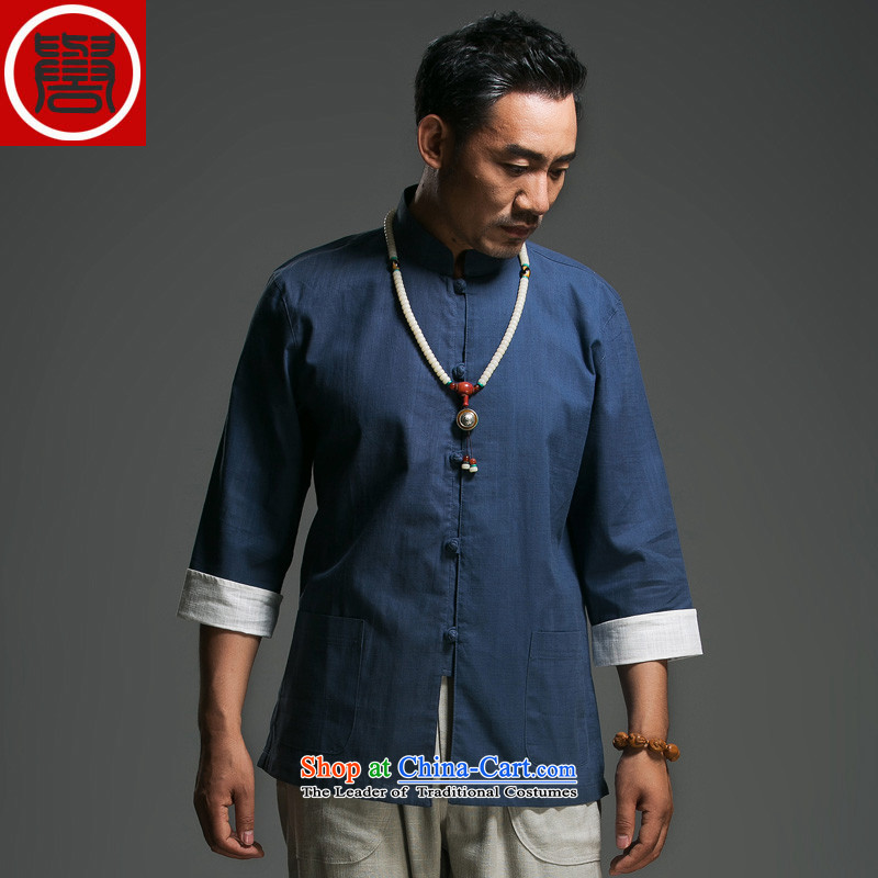 In the renowned older men Tang dynasty pure cotton tray clip collar seven Chinese shirt-sleeves traditional Han-Menswear Chinese clothing dark blue Large (175)