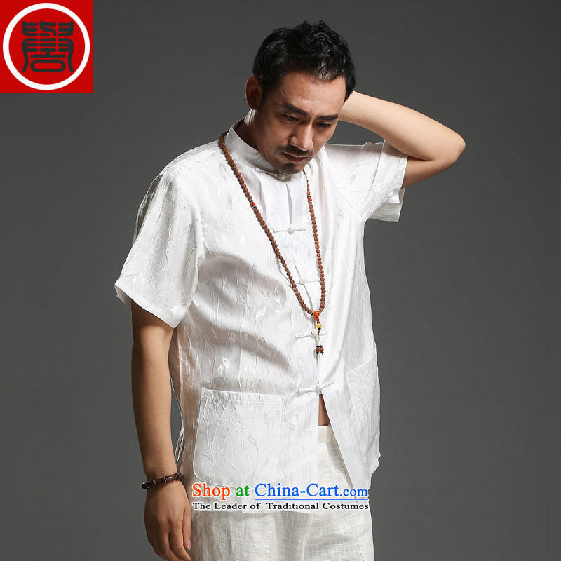 Renowned men 2015 Summer new middle-aged man Tang dynasty short-sleeved cotton linen Tang dynasty loose Breathable white short-sleeved T-shirt _185_Where the movement