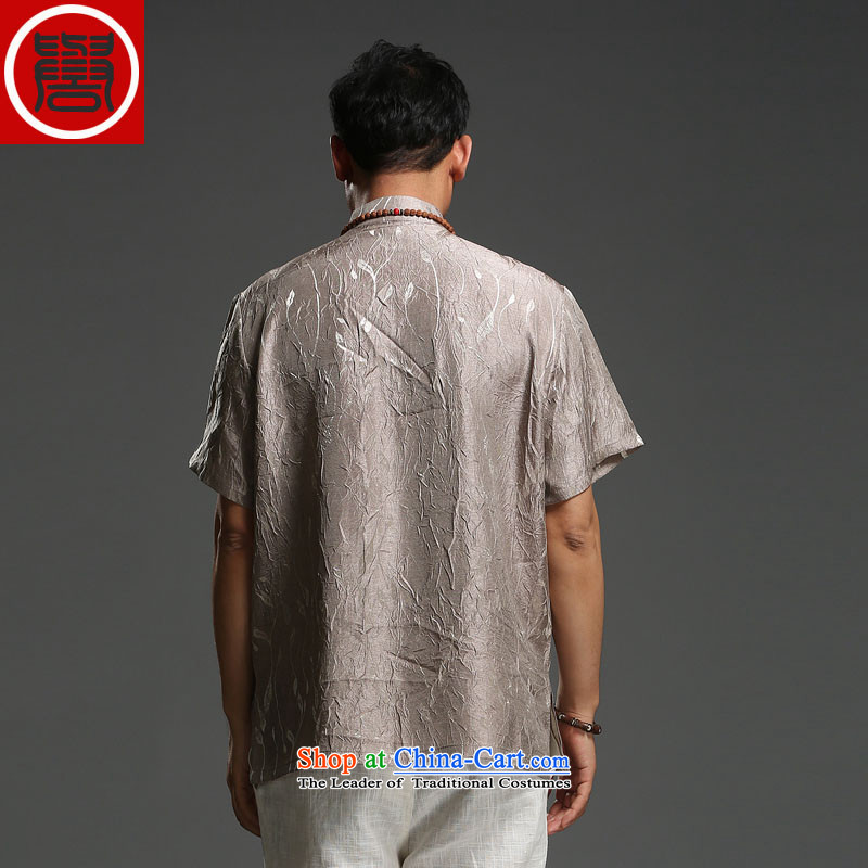 Renowned men 2015 Summer new middle-aged man Tang dynasty short-sleeved cotton linen Tang dynasty loose Breathable white short-sleeved T-shirt (185), renowned movement (CHIYU) , , , shopping on the Internet