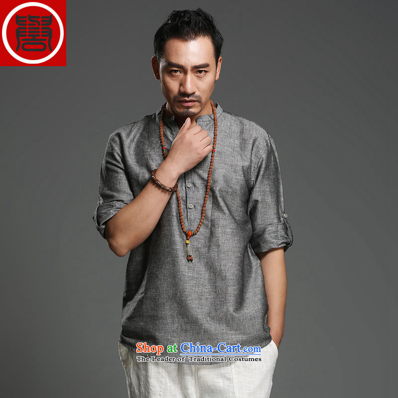Renowned Chinese China wind men Han-Tang dynasty men men's summer short-sleeved gray聽175_XL_