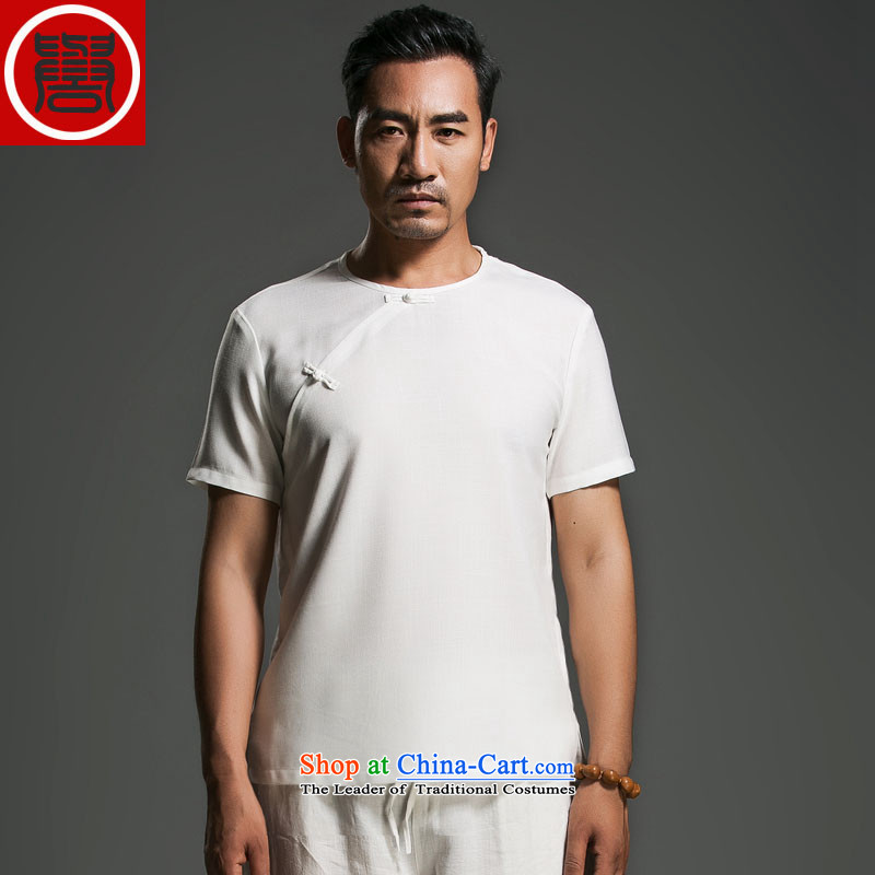 Renowned China wind men's summer linen disc detained round-neck collar short-sleeved swashplate detained Korean male personality white giant _2XL_