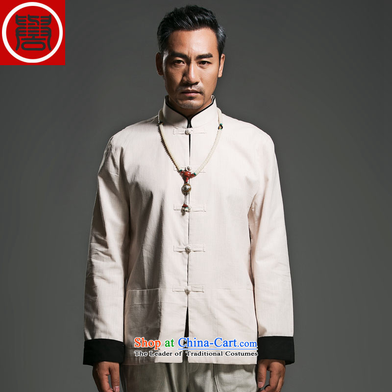 The fall of the renowned linen Solid Color Tang dynasty long-sleeved loose China wind men's jackets and disc buttoned, ethnic kung fu shirt Han-suk _185_Where m Yellow