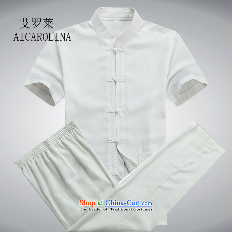 Hiv Rollet men short-sleeved Tang Dynasty Package for older peoples Han-summer Chinese male and white T-shirt kit?S