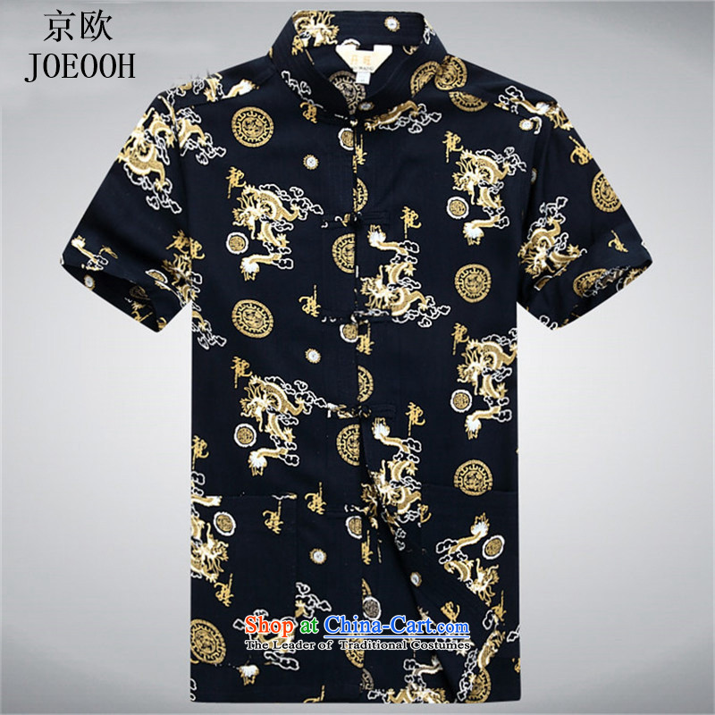 Beijing Summer Europe men short-sleeved shirt Tang dynasty in older men father shirt grandfather ethnic shirt black燬