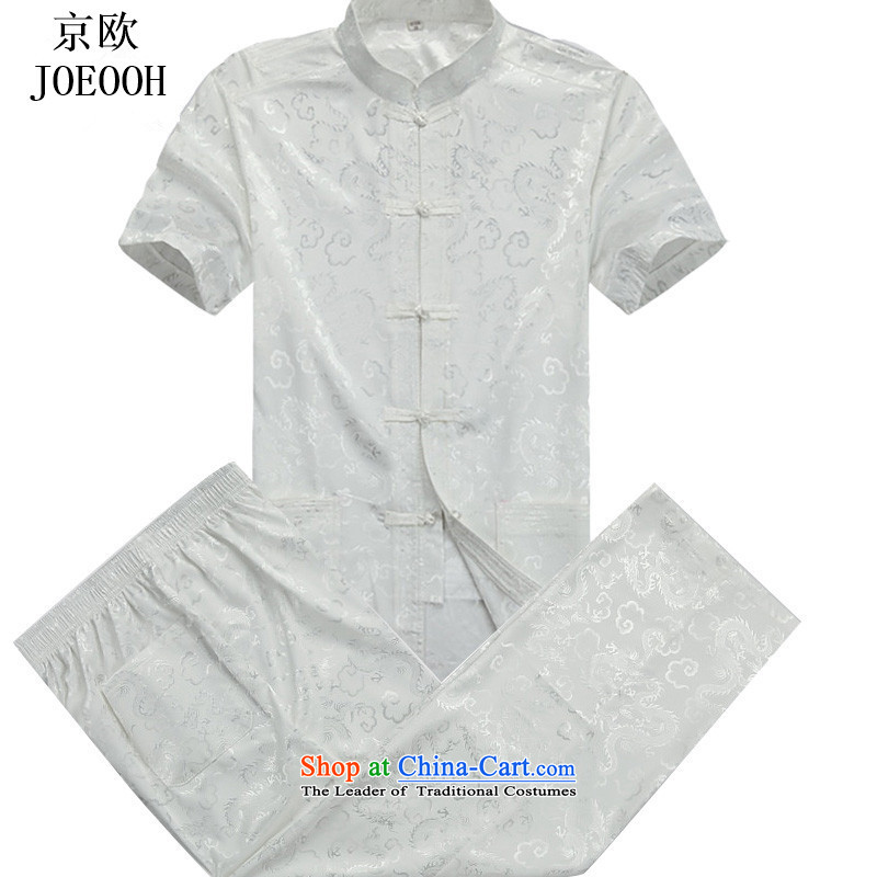 Beijing OSCE Tang Dynasty Package male Han-China wind men in summer short-sleeved Chinese elderly folk dress beige kit?M