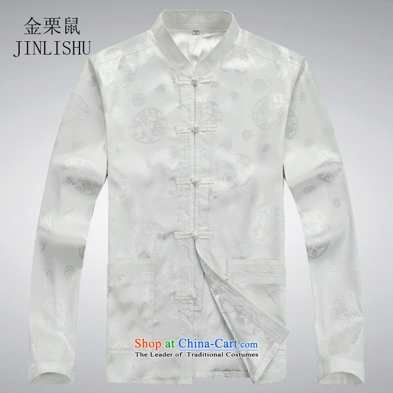 Kanaguri mouse in spring and summer men Tang Dynasty Package of older persons in long-sleeved China wind men Tang Dynasty Chinese white shirt聽XXXL