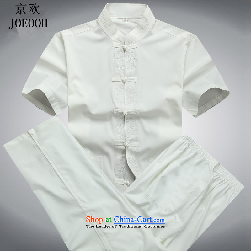 Kyung Nam Mr Tang dynasty OSCE short-sleeved T-shirt older package for China wind load father sheikhs Han-men-yard White Kit聽XL