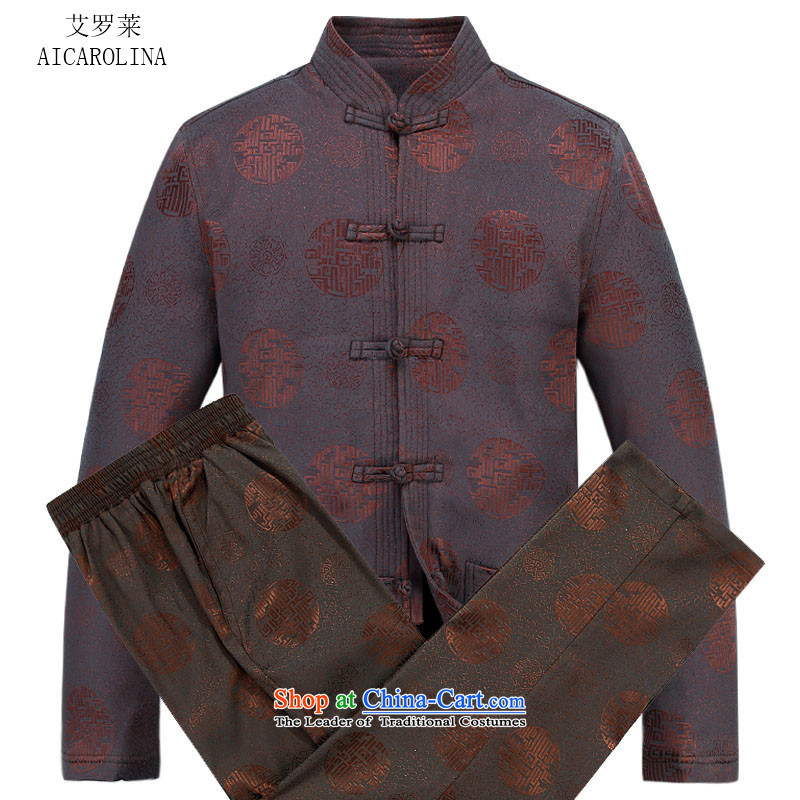 Rollet HIV from older men thick cotton Tang dynasty autumn and winter new Elderly Tang Dynasty Recreation brown kit聽M
