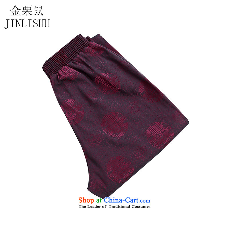 Kanaguri Mouse New China Wind Pants elastic waist Tang straight men casual pants and comfortable red�L