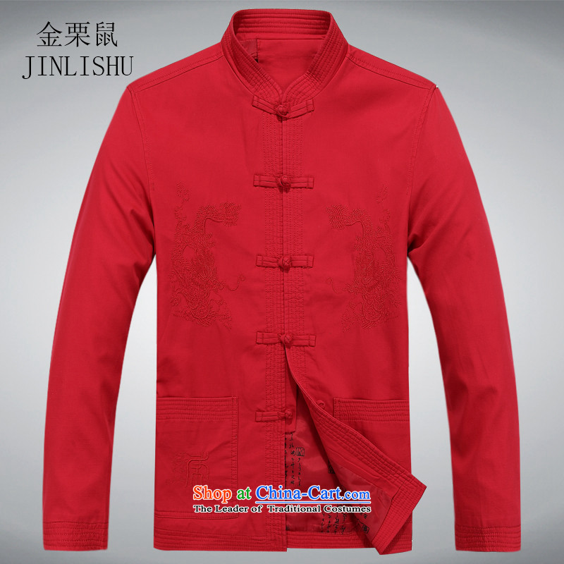 Kanaguri mouse spring men Tang Dynasty Chinese elderly in men's men casual spring father燲XXL Red Jacket