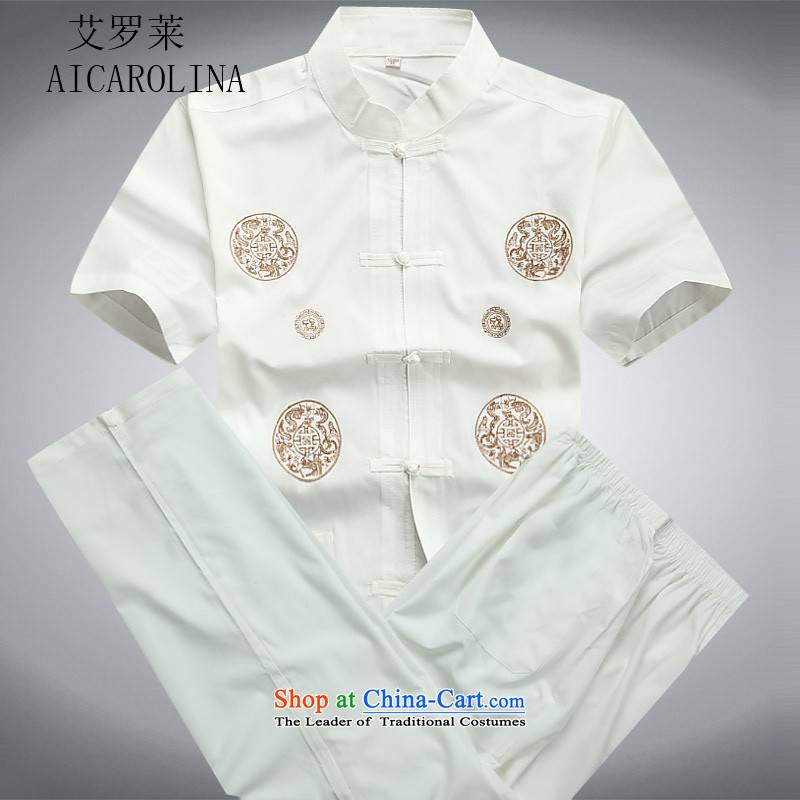 In the summer of HIV rollet older men in spring and autumn Tang dynasty boxed long-sleeved national costumes Chinese grandfather boxed kit white?L