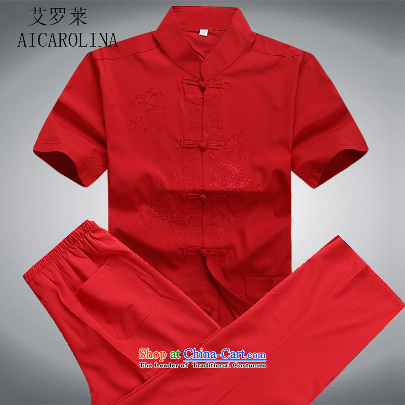 Hiv Rollet summer men Tang dynasty short-sleeved T-shirt China Wind Pants summer in older men Kit Chinese tunic red kit?S