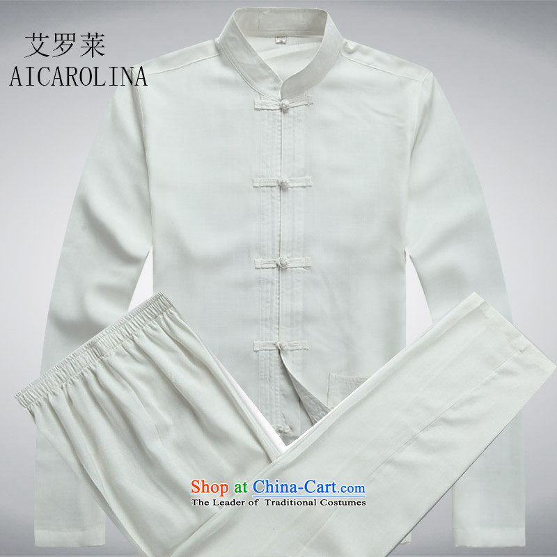 Hiv Rollet Men long-sleeved Tang Dynasty Package for older peoples clothes white kit?S