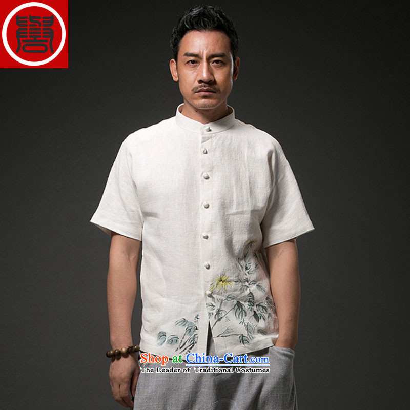 Renowned Tang replacing men's leisure printed cloth short-sleeved shirt linen china wind male cotton linen clothes men's summer White XXL