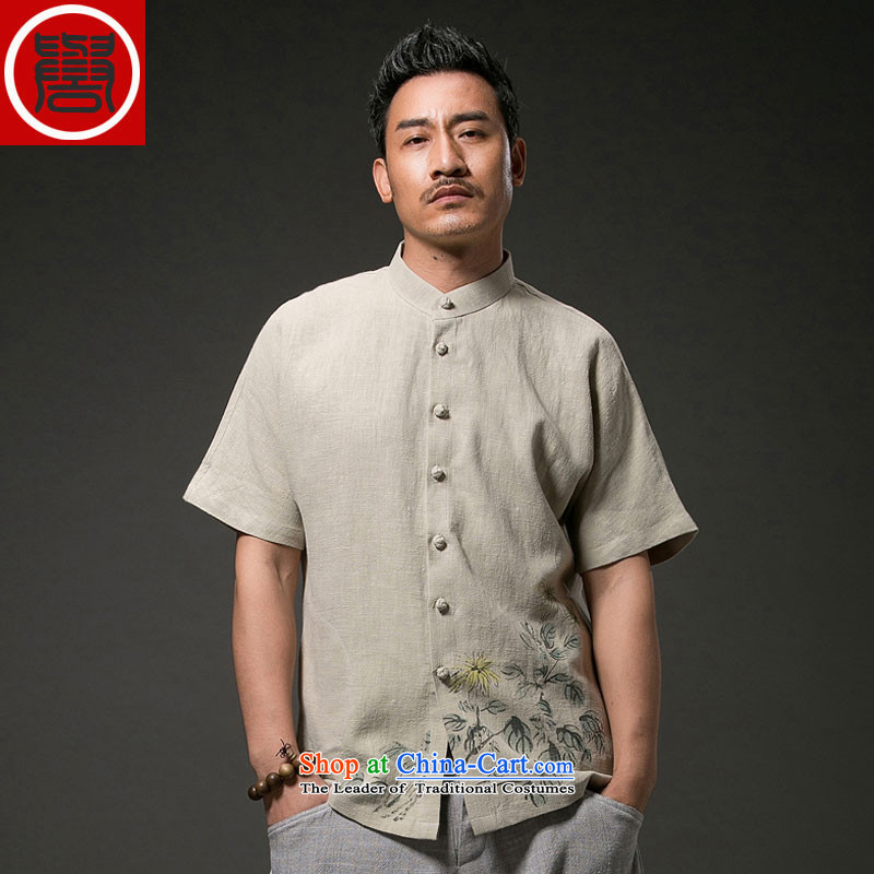 Renowned Tang replacing men's leisure printed cloth short-sleeved shirt linen china wind male cotton linen clothes men's summer white XXL, renowned (CHIYU) , , , shopping on the Internet