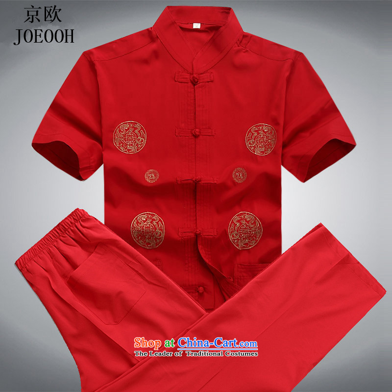 Beijing Summer Europe men short-sleeved Tang dynasty summer exercise clothing in older Men's Shirt Kit Chinese shirt red kit?S
