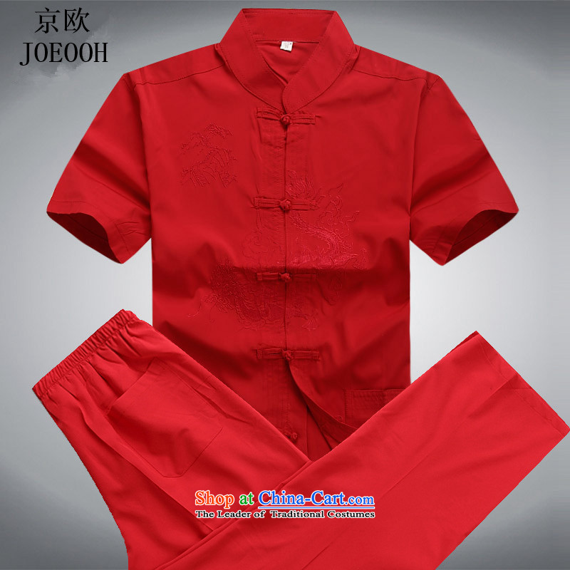 Beijing Summer Europe in Tang Dynasty older short-sleeve kit Chinese Kung Fu netherlands national costumes elderly father Han-loaded red kit?M