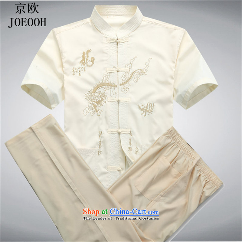 Beijing OSCE men's short-sleeved in Tang Dynasty older summer shirt older persons summer China wind men Tang Dynasty Package beige燲XXL Kit